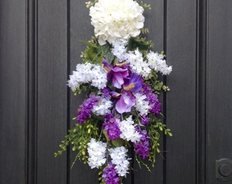 Spring Wreath Summer Wreath Teardrop Twig Door Swag Vertical Decor Purple White Liliacs Floral Swag Floral Door Decor