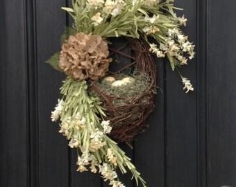 "Spring Wreath Summer Wreath Kitchen Grapevine Oval Wreath Basket Decor…""Yellow Eggs"" Artificial Indoor Outdoor Decoration Burlap Flower"