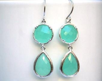 Silver Mint Earrings. Light Mint Earrings. Mint Green Earrings.Teal Earrings.Bridesmaid Gifts.Bridesmaids Earrings. Bridal. Wedding Earrings