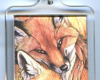 Autumn Love Foxes Keychain