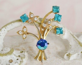 Vintage Flower Bouquet Brooch with Aqua and Clear Rhinestones