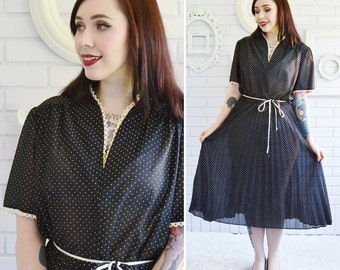 Vintage Semi Sheer Black Dress with Tan Polka Dots and Crocheted Trim by Carly Circle Size Large