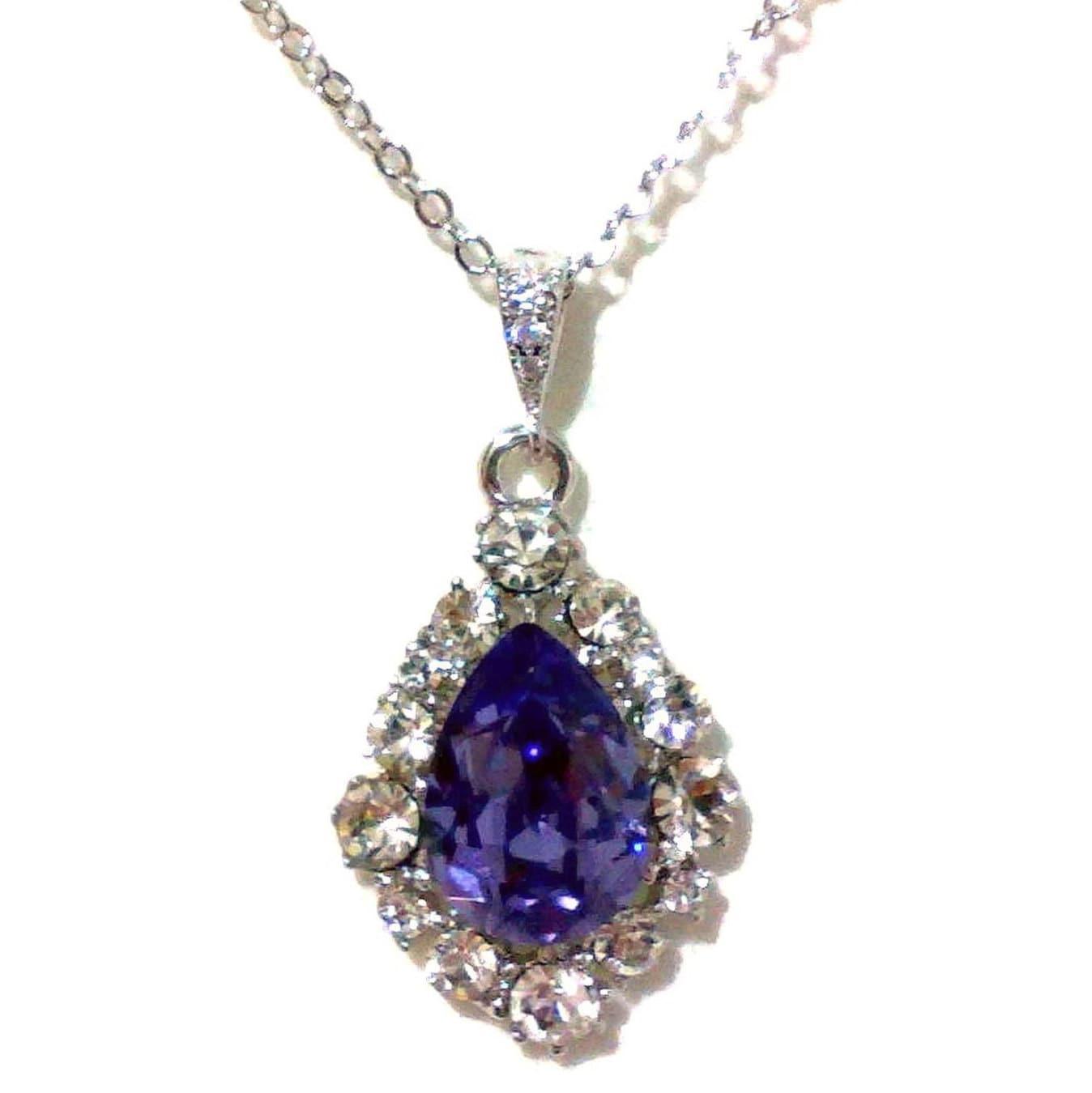 purple necklace violet pendant swarovski drop