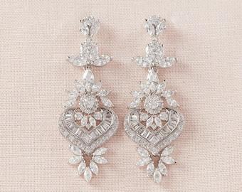 Crystal Bridal Earrings, Rose Gold Wedding Earrings, Statement Bridal Jewelry, Art Deco Wedding Jewelry, Vintage style, Long London Earrings