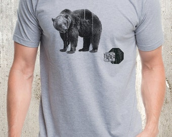 Men's Bear & Beers T-Shirt - Screen Printed Men's T-Shirt - American Apparel