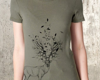 Elk with Tree Antlers - Women's American Apparel Women's T-Shirt - Women's Small Through 2XL Available