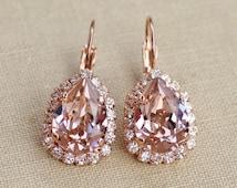 NEW SIZE  Swarovski Blush RoSE Gold Pear Halo Earrings,Blush Halo Drop Earring,Vintage Rose Dusky Pink Rhinestone Earrings,Bridal,Weddings