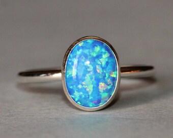 NEW Dark Blue Opal Ring,Sterling Silver Bezel Gemstone Ring,Oval,Denim Blue Lab Created Opal,Opal Gemstone,Birthstone,Blue Green Opal,Gift