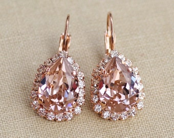 NEW SIZE  Swarovski Blush RoSE Gold Pear Halo Earrings,Blush Halo Drop Earring,Vintage Rose Dusky Pink Rhinestone Earrings,Bridal,Weddings