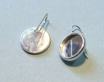 ONE  PAIR Silver Plate Bezel Blank Earwires - 15mm