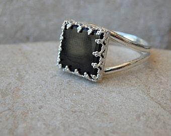 Black Square Onyx Ring, 925 Sterling Silver Onyx Ring, Big Black Stone Ring for Women Silver Onyx Ring, Black Onyx Ring, Square Cut Ring