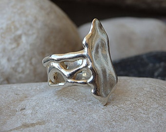 Big Ring. 925 Sterling Silver Ring. Abstract Silver Ring. Silver Boho Ring For Her. Unique Women's Wide Ring. Asymmetric Silver Ring. OOK