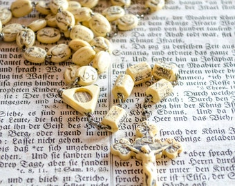 Rare Vintage Civelli Ivorine Rosary, Catacombe Soil Relic, Litanies