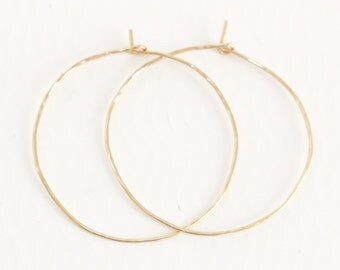 2 1/2 inches large 14K gold filled hoops thin hammered texture Light weight hoop earrings gift for her
