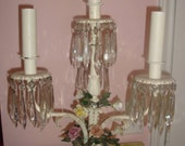 Vtg FRENCH Cottage CHIC Pink ROSES Chandelier Crystals Tole 4-Light Table Lamp