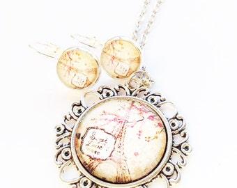 necklace and earrings set, romantic paris pendant, vintage style silver tone fancy jewelry, unique gift for lover of paris eiffel tower