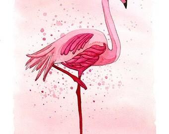 Watercolor Flamingo Art Print