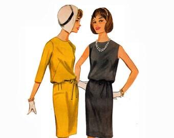 Slim Skirt Blouson Dress 1960s uncut Vintage Sewing Pattern 60s Bust 36 Size 16 Butterick 3251