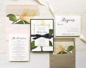 """Ivory and Navy Magnolia Wedding Invitations, Gold, Blush, Navy Blue Ribbon Bow Tie, Floral Envelope Liners - """"Sweet Magnolia"""" Sample"""