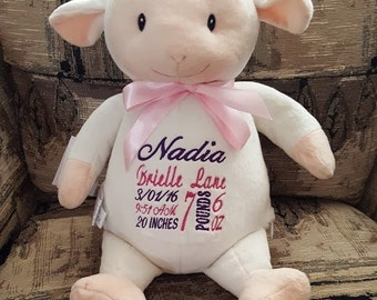 Cubbies Lamb Birth Announcement Gift Personalized Stuffed Lamb Baby Gift Big Sister Flower Girl Gift