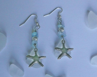 Aquamarine earrings. Sea glass earrings with aquamarine and white sea glass and starfishes. Aquamarine jewelry.
