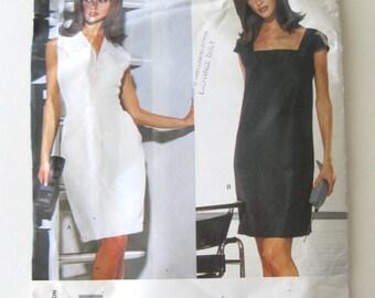 2000s Dress Pattern Vogue American Designer 1793 Marc Jacobs Womens Empire Waist or Sheath Dress Sewing Pattern Size 8-12 Bust 31.5-34 UNCUT