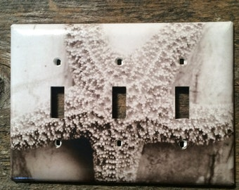 Starfish Sepia Toned, Light Switch Plates, Triple Toggle, Home Decor