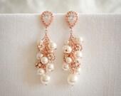 Rose Gold Pearl Cluster Bridal Earrings, Crystal Wedding Earrings, Teardrop CZ Dangle Earrings, Swarovski Pearl Cluster Earrings, SYLVIE