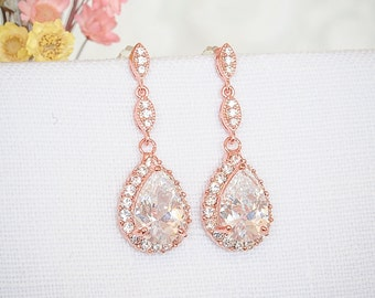 Rose Gold Bridal Earrings, Crystal Wedding Earrings, Zirconia Teardrop Dangle Earrings, Wedding Stud Earrings,  Bridal Jewelry, POLLYANNA