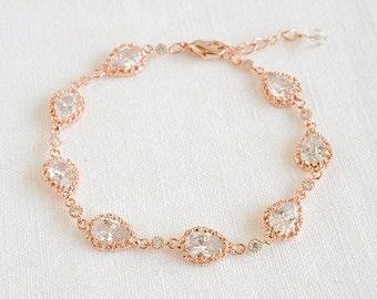 Wedding Bracelet, Bridal Bracelet, Crystal Bracelet, Teardrop Bracelet, CZ Tennis Bracelet, Vintage Style Wedding Bridal Jewelry, JUDITH