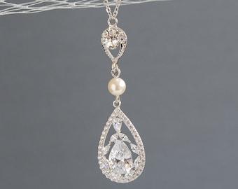 Bridal Necklace, Swarovski Pearl Wedding Necklace, Crystal Teardrop Pendant Necklace, Silver or Rose Gold Bridal Wedding Jewelry, CYNTHIA