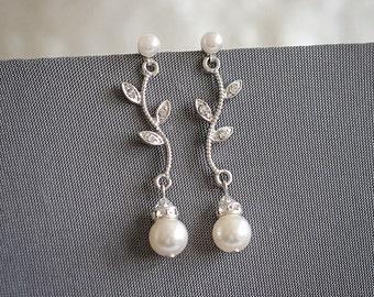 Crystal Leaf Bridal Earrings, Vintage Style Bridal Wedding Earrings, Swarovski Pearl Drop Earrings, Leaf Vine Bridal Jewelry, KACEY