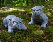 Bulldog Statues, Bulldog Garden Decor, English Bulldog Memorial, Bully Figurines, Pair of Bulldogs, Painted Dog Garden Statues