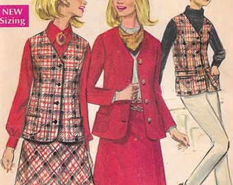 Bust 38-FACTORY FOLDED 1968 Misses' Full Figure Skirt and Jacket Size 16