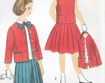 """Sz 8-FACTORY FOLDED 1958 Girls' Three-Piece Suit With Detachable Bow Simplicity 2397 Breast 26"""""""