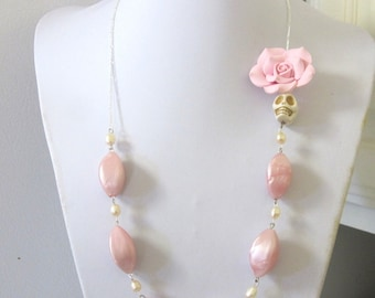 Blush Pink Sugar Skull Necklace Day of the Dead Jewelry Freshwater Pearls