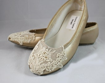 Champagne and Ivory Ballet  Flat - Lace Flats