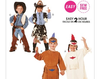McCall's Pattern M7226 Children's Cowboy, Cowgirl and Native American Costumes Sizes 3-4 NEW