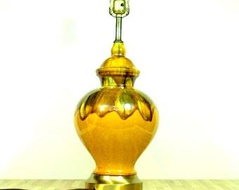 Vintage Drip Glazed Ginger Jar Table Lamp Golden Honey Brown Butterscotch