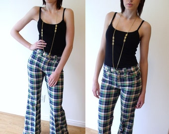 vintage womens 70s PLAID BELLBOTTOM WRANGLERS Medium/28 pants retro indie hipster trousers preppy low rise blue green flare boot cut