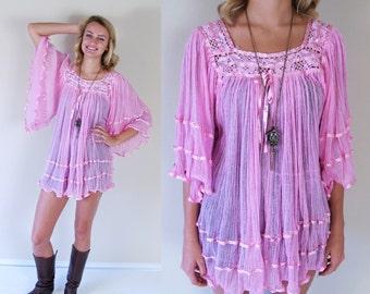 vtg 70s pink MEXICAN sheer gauzy crochet TUNIC TOP os angel sleeve kimono shirt blouse boho hippie festival