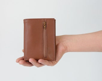 Trifold Wallet Nut Brown Leather, mens wallet, flat wallet, leather wallet