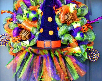 Whimsical Halloween Polka Dot Witch Hat with Boots and Skirt Wreath