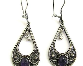 Ethnic, Yemenite, 925 Sterling Silver, Filigree, Drop Earrings Decorated With Amethyst Gemstones, Artisan Woman Jewelry - ID1015