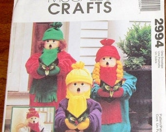 "McCall's 2994 Christmas Carolers, Soft Stuffed 24"" Dolls, Clothes, Hat, Wings, Holiday Porch Decor Crafts Sewing Pattern Uncut Factory Folds"