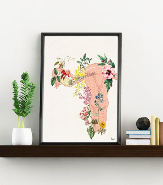 Christmas Sale Flowery uterus feminist collage Woman gift Medicine student gift- Wall decor art, Anatomical home Pregnancy gift SKA111WA4