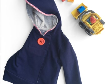 Boys hoodie sweatshirt red button. Indigo navy. Sizes 2T to 5y.