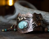 WOLF PACK, tribal cuff, bracelet, rustic statement, turquoise bracelet, metalsmith, mountain jewelry, beaded, mixed metal, unique design