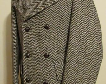 Vintage 80s CROYDON Mens Wool Herringbone Tweed Overcoat, Winter Coat, 3/4 Length Wool Coat, Double Breasted with Shoulder Epaulets, Size 38