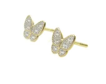 14K gold butterfly earrings. Gold butterfly earring. Gold post earrings. Gold earrings. gold butterfly crystal studs. 14k earrings(e04372gz)